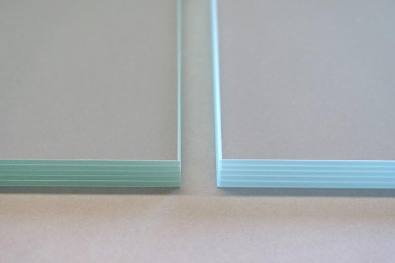Farbwiedergabe Eigenschaften Glas, Vergleich Normalglas und Weißglas