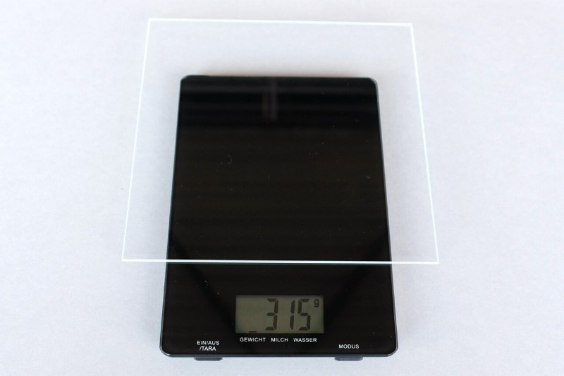 Gewicht von Bilderglas Vergleich