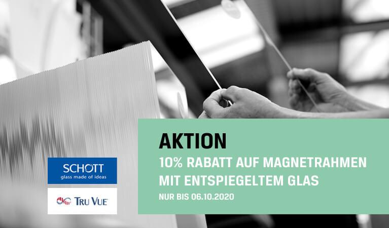 10% Rabatt auf Magnetrahmen mit Entspiegeltem Glas