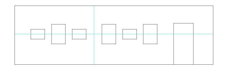 Reihenhängung in Gruppen mit Wechsel von Hoch- und Querformat Mittelachse zentriert
