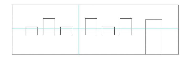 Reihenhängung in Gruppen mit Wechsel von Hoch- und Querformat Unterkante bündig