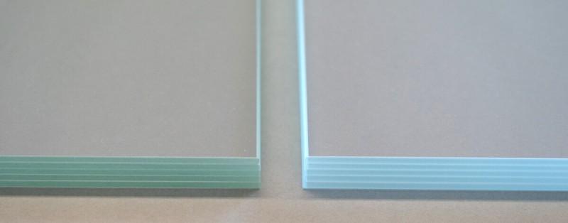 Unterschiede der Farbwiedergabe bei Normalglas und Weißglas