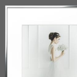 Halbe Magnetrahmen mit Hochzeitsmotiv im Passepartout
