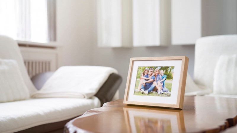 Photo frame with stand in the living room