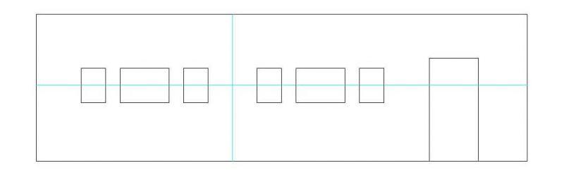Reihenhängung mit kleinen Rahmen im Hochformat und großen im Querformat